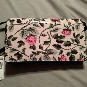 Coach crossbody patent leather sleeping rose purse